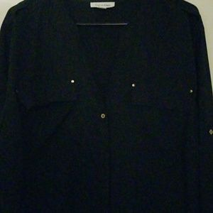 Black button up with gold buttons